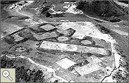 An aerial photograph of an excavation